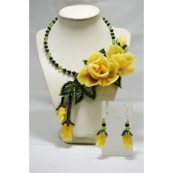 Yellow Wedding Statement Necklace with Roses, Beaded Floral Choker,... (€165) ❤ liked on Polyvore featuring jewelry and necklaces