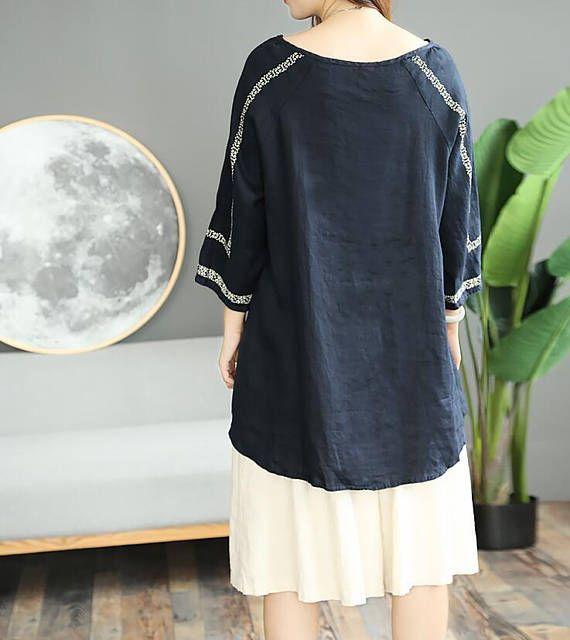 Dark blue round collar shirt asymmetrical Blouses White shirt
