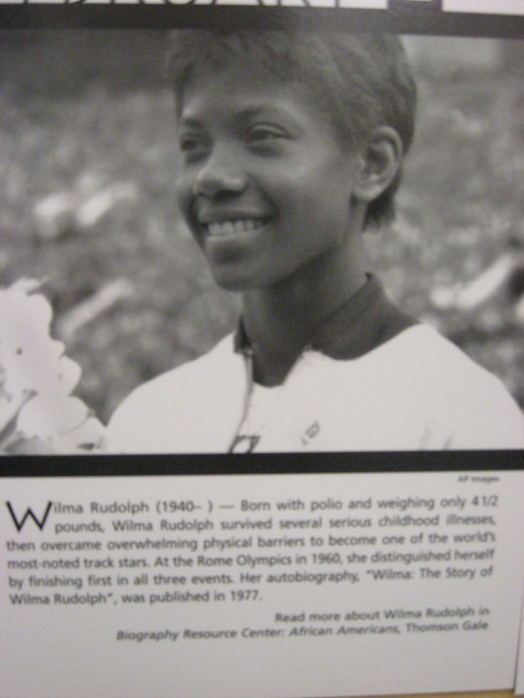 wilma rudolph Wilma rudolph made olympic history in 1960 when she became the first   another little-known facet of her college career was that when she was not on the .