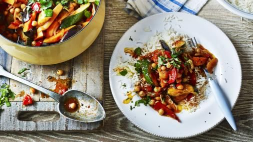 This full-flavoured tagine is a cheap, healthy way of getting extra vegetables into your family's diet. This dish is suitable for freezing; in fact, freezing will intensify its flavour.  This meal, if served as five portions, provides 299kcal, 9g protein, 41g carbohydrate (of which 24g sugars), 9g fat (of which 1g saturates), 11g fibre and 0.1g salt per portion.