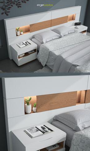 Egelasta · Mueble · Moderno · Madera · Mobiliario de hogar · Catálogo New Live · Noche · Dormitorio · Cama con cabezal Platea y mesita de noche Aries · Roble siroco y laca blanco
