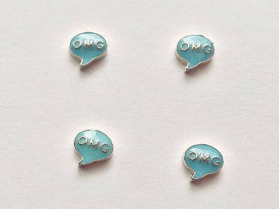 4 OMG Conversation Bubble Floating Charms  Glass Locket