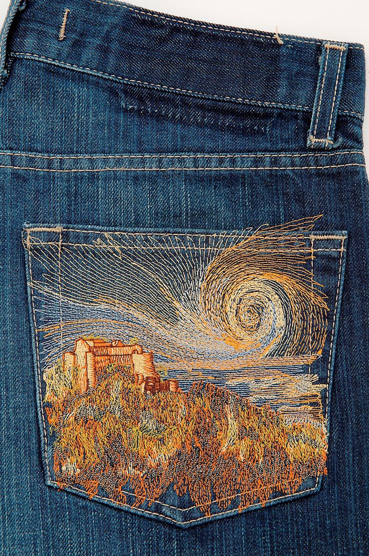 Metallics and Rayon make a beautiful design on the back of these jeans.