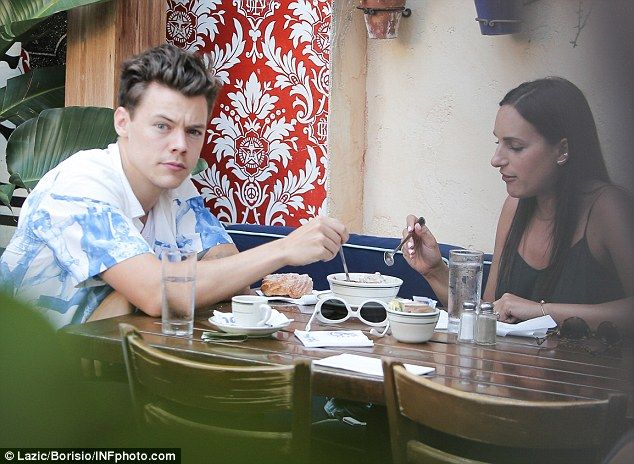 Dim yum: Harry Styles, 22, headed to the Habana Cafe in Los Angeles for…