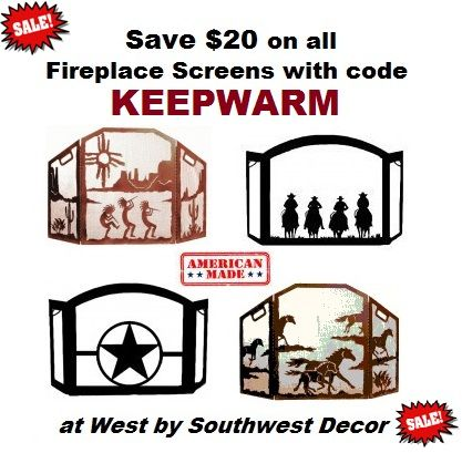 Save $20 on our American Made Fireplace Screens for Western, Southwestern, and Horse themed homes with Discount Code KEEPWARM