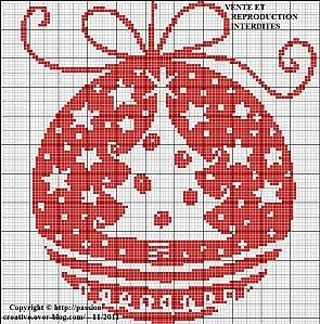 Monochrome red X'mas ornament click on photo for chart | REPINNED