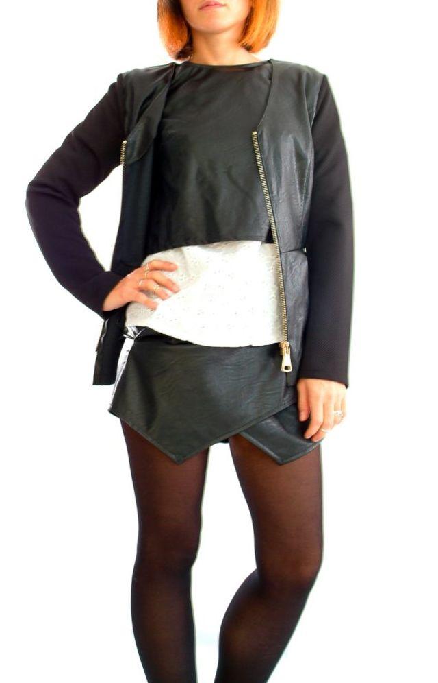 Giacca Ecopelle Nera, Giacche Corte Taglie unica: vestibilità dalla 40(S) alla 44(L)