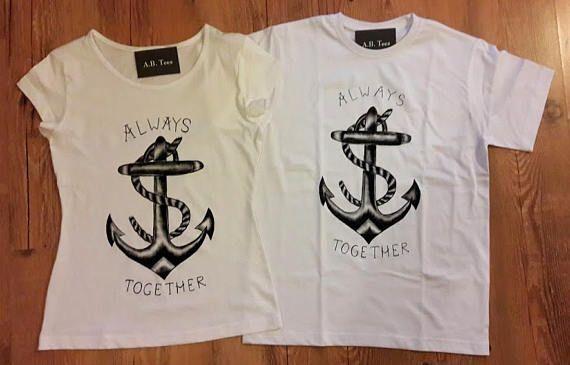 Couples tee hand painted tshirt-anchor tee nautical