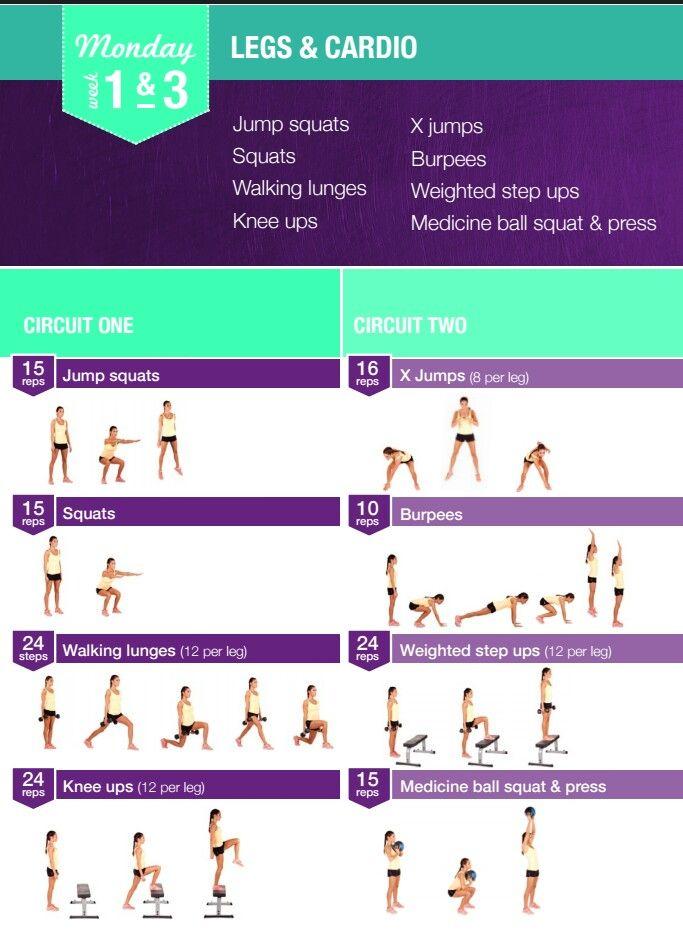 Monday 1&3 | BBG Workout | Pinterest