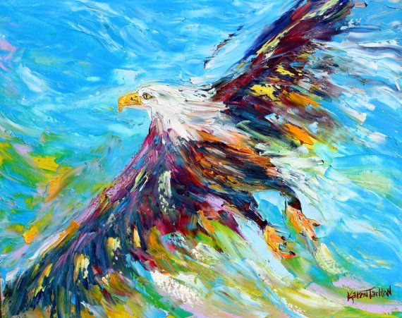 original oil painting bald eagle abstract palette knife