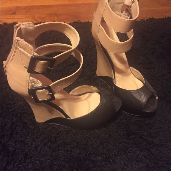 Black & beige wedges Awesome - never worn! Size 7. Wrap around your ankle beige down to a black and beige wedge Shoes Wedges