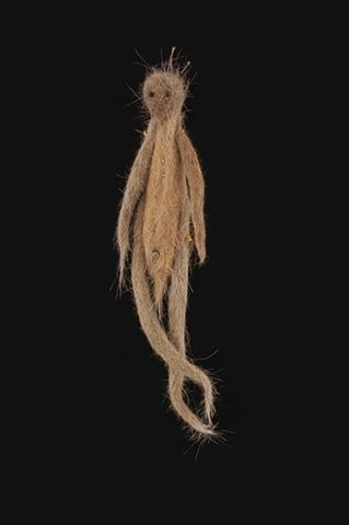 Cheryl K. Shurtleff, Cat Hair Doll  2011  cat hair and found objects  8 inches x 4 inches x 2 inches