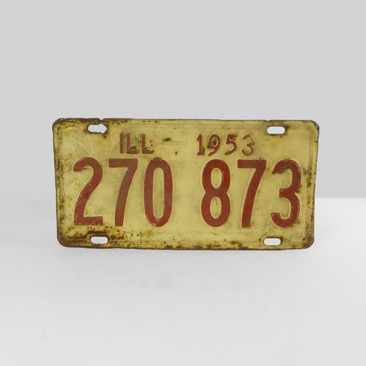 1953 Original Vintage Illinois Metal Auto License Plate - FOR SALE! Authentic original vintage 1953 Illinois old metal automobile car license plate sign. 11-1/4 x 5-5/8. Wall art sign or nice display item. Buy Now!
