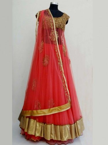 Buy corel Red Golden shiffon anarkali lehenga a perfect indian bridal saree designed by sengar only at iThinkFashion