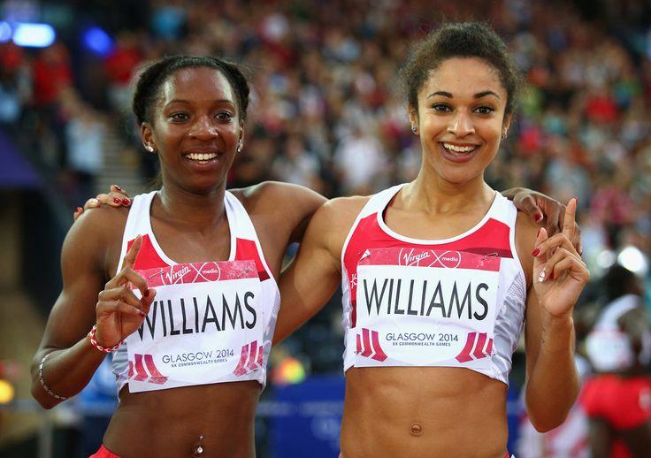 (L-R) Bronze medalist Bianca Williams of England and silver medalist Jodie Williams of England