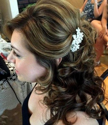 medium half up  mother of the bride hairstyle