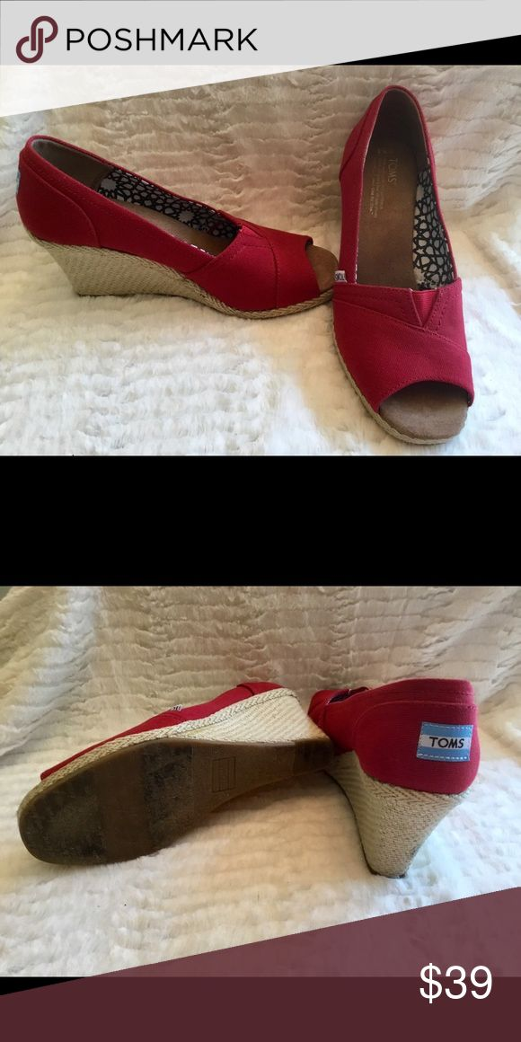 TOMS Red wedge shoes TOMS Red Wedge Shoes.    Very Comfortable.  Nordstrom. TOMS Shoes Wedges