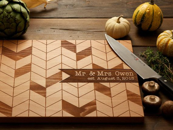 Xmas present idea!  For my 'kitchen' theme:). Personalized chevron wood cutting board.  I like the pennant one too...