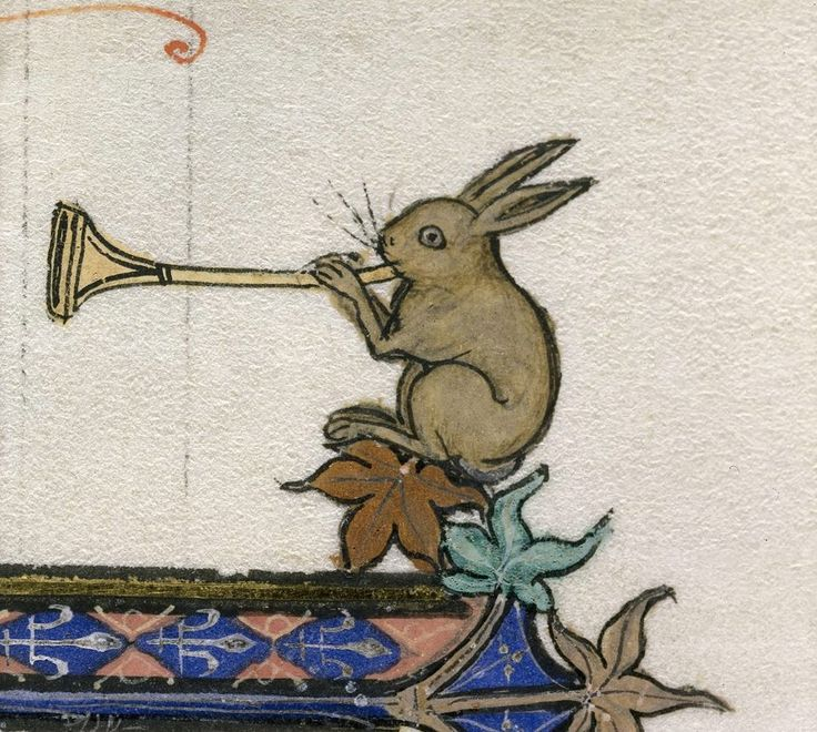 Bugle Bunny - Detail of a rabbit blowing a horn from an English manuscript - c. 1283-1300