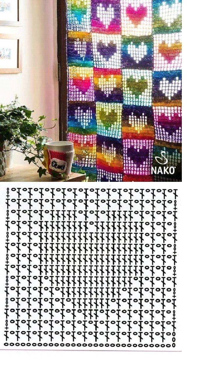 Crochet Heart Curtain - Chart ❥ 4U hilariafina  http://www.pinterest.com/hilariafina/