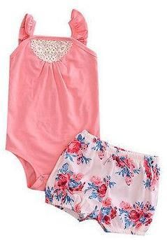 Simple and cute baby girl summer outfit. Set includes a light color tank top bodysuit with cute floral shorts.