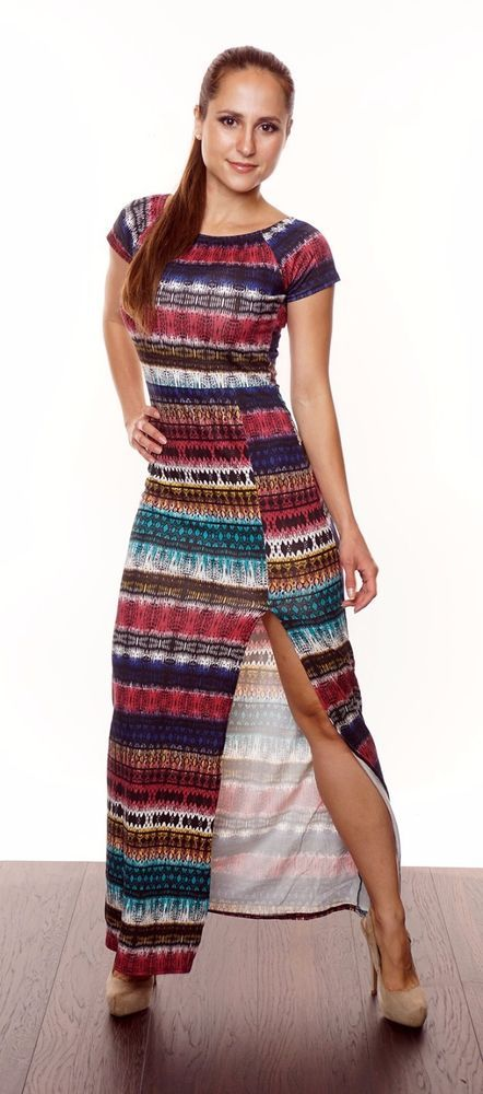 Maxi dress. Crepe style - added for effect. Single slit side - added for effect. Gorgeous all over zig zag with aztec prints - added for effect. Perfect casual/summer wear. Available in different colours/patterns. | eBay!