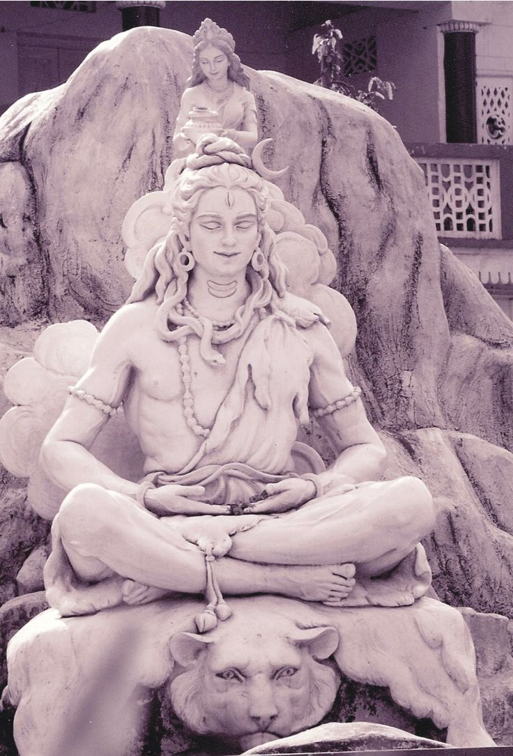 The godess Ganga (Ganges) emerges from the hair of Shiva.