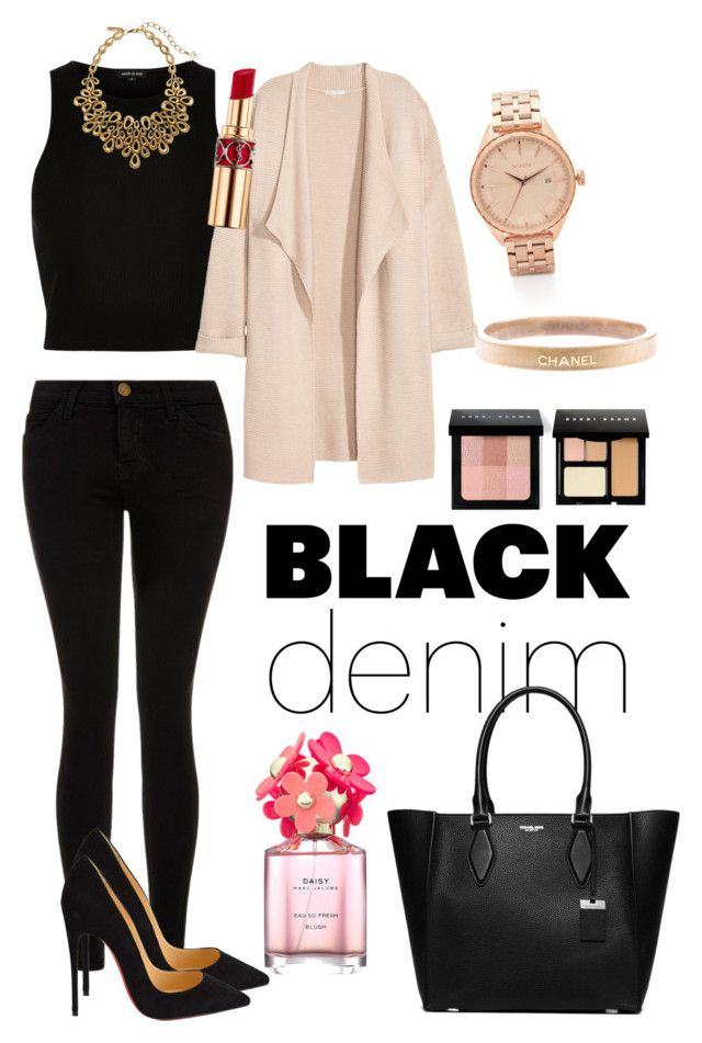 Black denim by neeacamillaa on Polyvore featuring River Island, Kofta, Current/Elliott, Christian Louboutin, Michael Kors, Nixon, Chanel, Oscar de la Renta, Bobbi Brown Cosmetics and Yves Saint Laurent