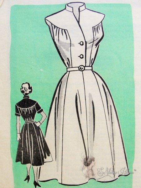 1950s Dress Pattern Shaped Neckline with Back Yoke Flared Marian Martin 9295