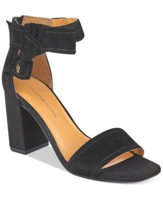 TOMMY HILFIGER Tommy Hilfiger Sunday Two-Piece Block-Heel Dress Sandals . #tommyhilfiger #shoes # sandals