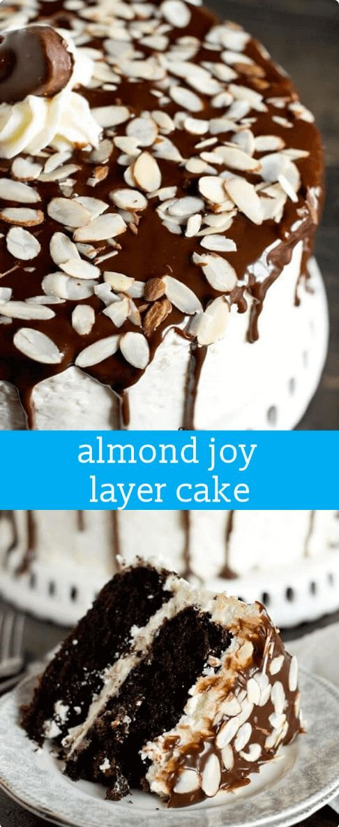 If you love Almond Joy candy bars, you'll fall for this Almond Joy Layer Cake recipe with coconut buttercream. Don't forget the dripping chocolate! Almond Joy Layer Cake {The Grown-Up Way to Eat A Candy Bar} via @thebestcakerecipes