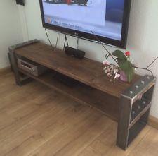 Lowboard Industrial Design TV-Bank Holz Metall Designer Industrie Möbel Neu