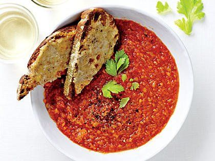 Rustic Tomato Soup with Cheesy Toasts