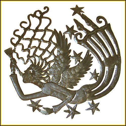 "Handcrafted Metal Angel Wall Hanging - Haitian Steel Oil Drum Art - 24"" x 24"" - $84.95 -  Steel Drum Metal Art from  Haiti - Interior Decor or Garden Décor   * Found at  www.HaitiMetalArt.com"