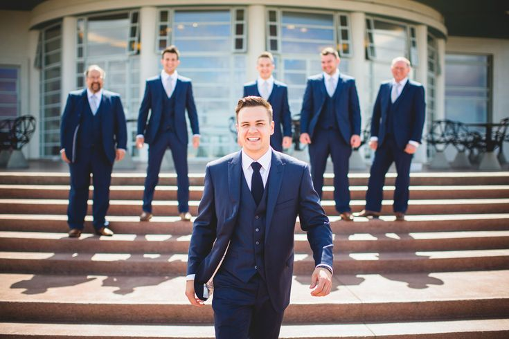Elegant Grey and Pink Lancashire Wedding by the Sea | Navy Blue Groom and Best Men Suits | Wedding Inspiration | Groom Inspiration | For more inspiration visit www.weddingsite.co.uk