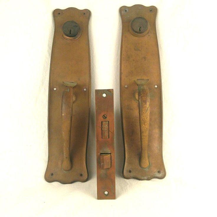 Antique Thumb Latch Handle Entry Door Plates Sargent Co Cylinder Locks Hardware #SargentCo