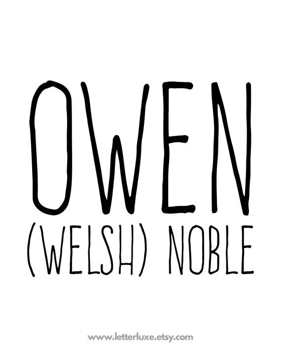 Owen Name Meaning Art - Printable Baby Shower Gift ...