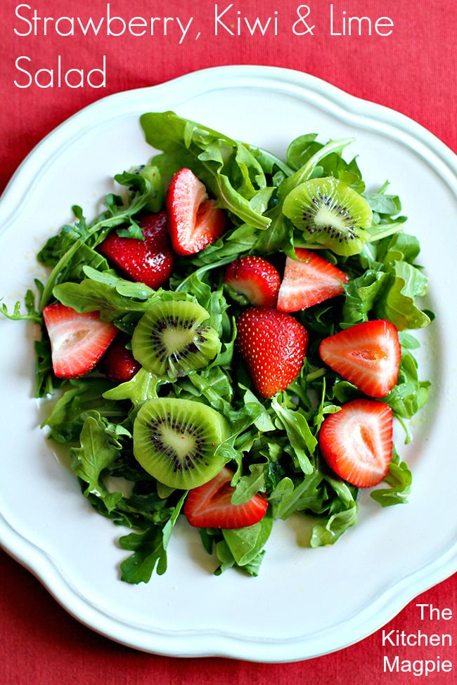 Strawberry, Kiwi & Lime Salad. Easy, fresh and fast, even the homemade dressing only has 4 ingredients!  | The Kitchen Magpie #salad #recipe #spring