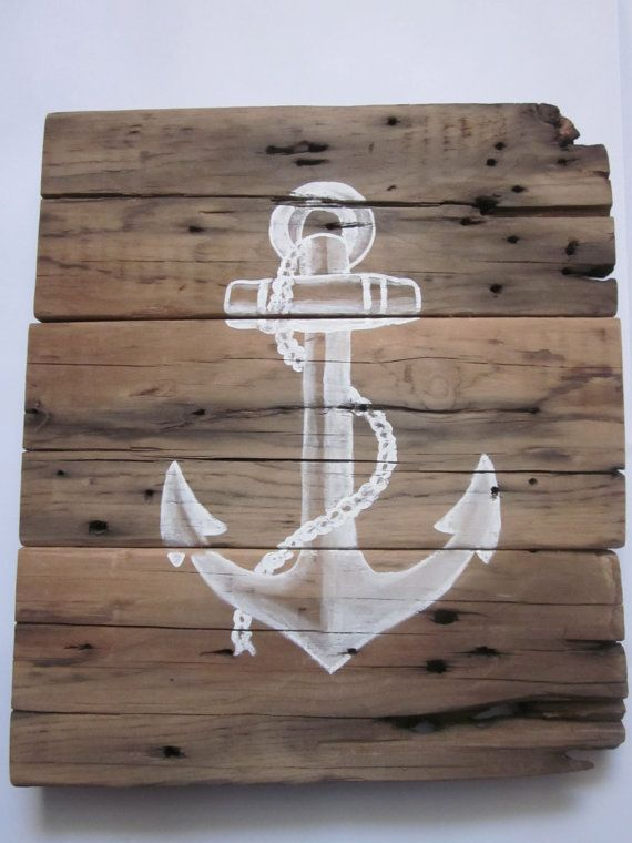 Handpainted Wood Sign  Anchor by SarahAnnByler on Etsy, $55.00