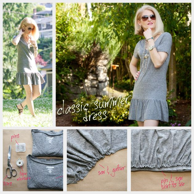 T Shirt Dress DIY This is an easy project from what I can tell. Just take two tshirts, one in your size and one 2x's your size. Cut the ruffle skirt from the big tee, sew and gather and then sew it to the tee that's your size and TA DA, abrand new cute as a bug tshirt dress! I gotta do this!