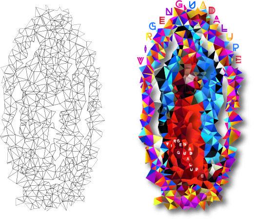 Virgen Guadalupe, manipulada con colores vivos y figuras geométricas