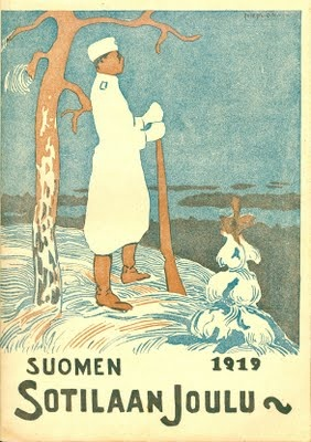 Cover from Suomen Sotilaa -1919, soldier standing lookout at Koli?