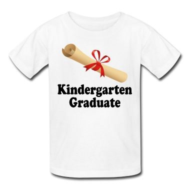 Celebrate your child's Kindergarten graduation with a fun diploma design t-shirt.