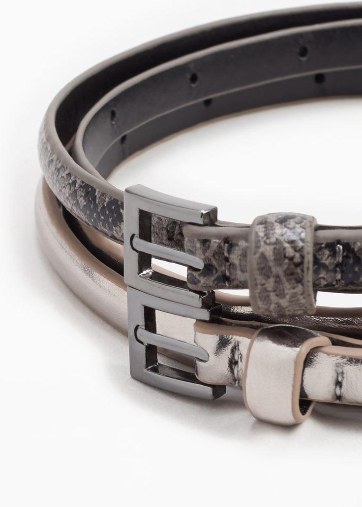2-pak dunne ceinturen - Ceinturen voor Dames | MANGO Nederland