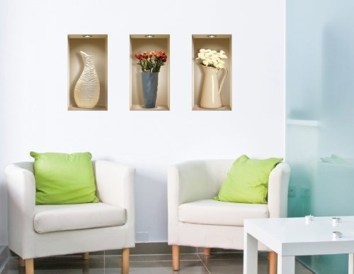 3D Wall Niche Removable Wall Decals: Tall Vases $34.95