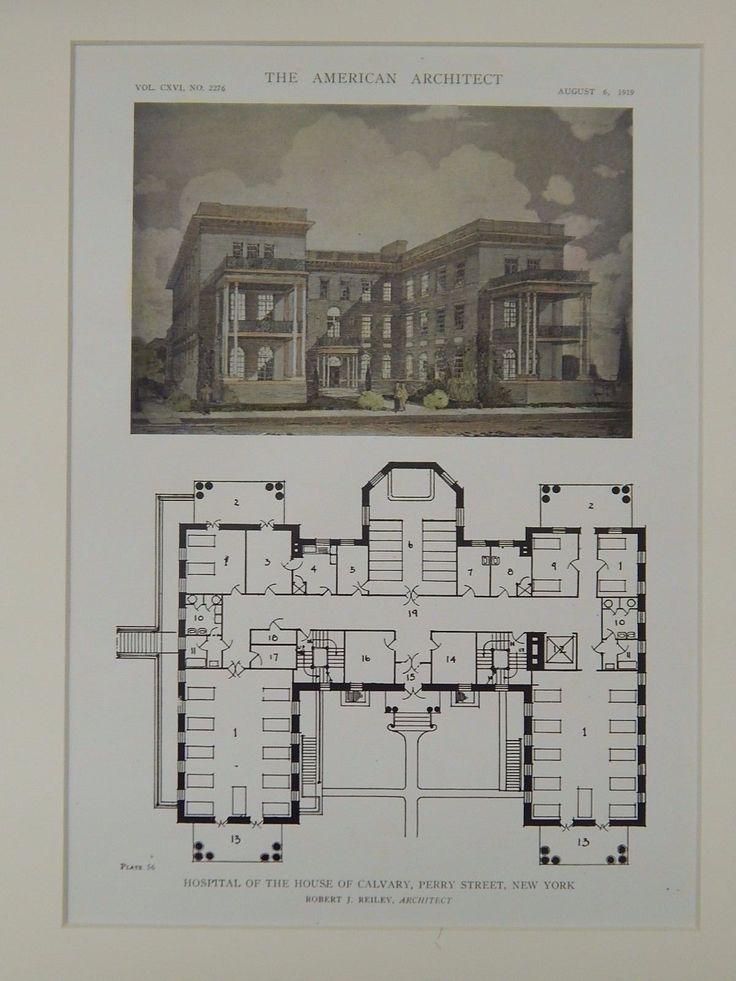 Hospital of the House of Calvary, Perry Street, New York, NY, 1919, Original Plan. Robert J. Reiley.