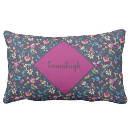 Navy Blue Purple Gold Floral Chintz Monogram Lumbar Pillow - monogram gifts unique design style monogrammed diy cyo customize