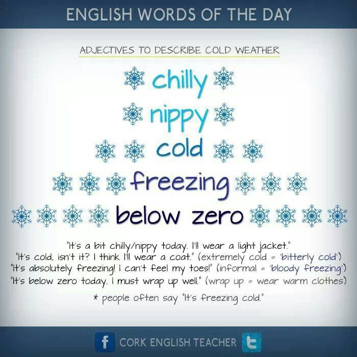 adjectives to describe cold weather