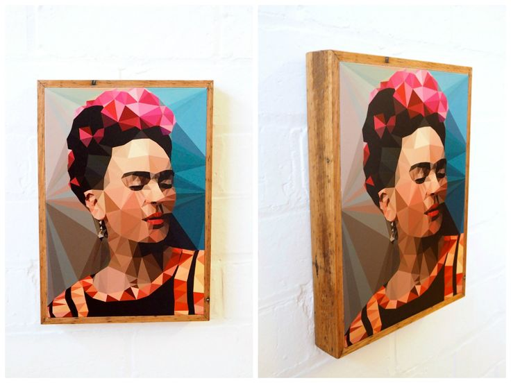 Frida Kahlo geometric print by Studio Cockatoo. Available to buy as a print on our stone and reclaimed timber panels. Visit www.imogenstone.com.au for more details.
