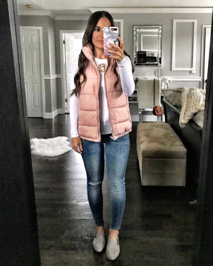 Pink puffer vest outfit | Fall layers